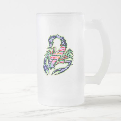 RETRO STYLE SCORPION 16 OZ FROSTED GLASS BEER MUG