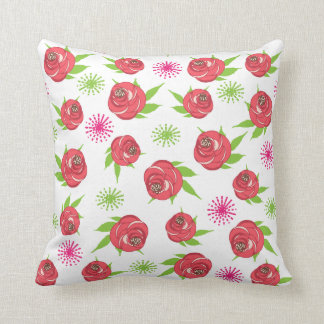 Retro Style Shabby Chic Pretty Ditsy Roses Print Throw Pillow