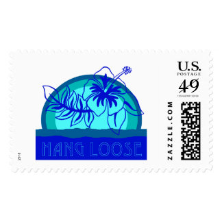 """Retro Style Sunset """"hang loose"""" Hibiscus Stamp"""