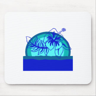 Retro Style Sunset with Hibiscus Mouse Pad