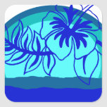 Retro Style Sunset with Hibiscus Square Sticker