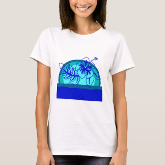 Retro Style Sunset with Hibiscus T-Shirt