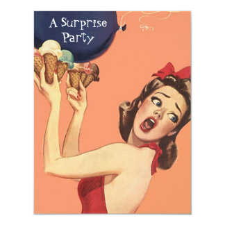 Retro Style Surprise Party Invitations balloon gal