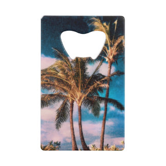 Retro Style Tropical Island Palm Trees Credit Card Bottle Opener