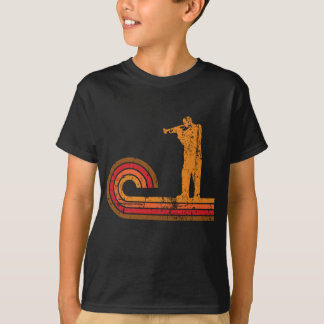 Retro Style Trumpet Player Silhouette Music T-Shirt
