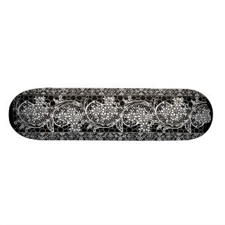 Retro Style Vintage Black White Lace Girly Skateboard
