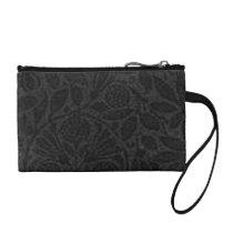 Retro Style Vintage Floral Black Bagettes Change Purse