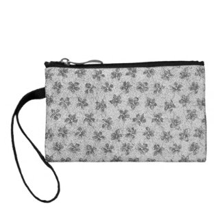 Retro Style Vintage Floral Charcoal Gray Bagettes Coin Purse