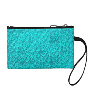 Retro Style Vintage Floral Teal Peacock Bagettes Coin Purse