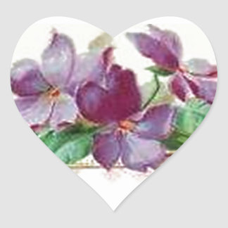 Retro Style Vintage Inspired Colorful Violets Heart Sticker