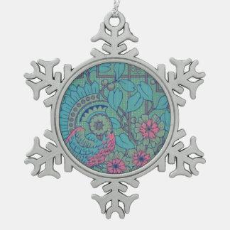 Retro Style Vintage Peacock Snowflake Pewter Christmas Ornament