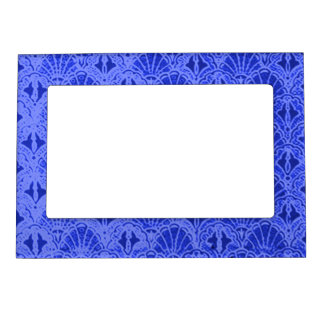 Retro Style Vintage Sapphire Blue Shells Seashells Magnetic Picture Frame