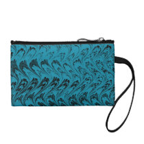 Retro Style Vintage Swirls Waves Teal Bagettes Coin Purse