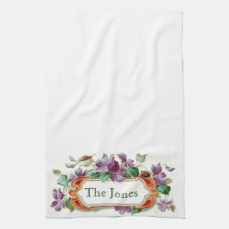 Retro Style Vintage Violets Customized Family Name Hand Towel