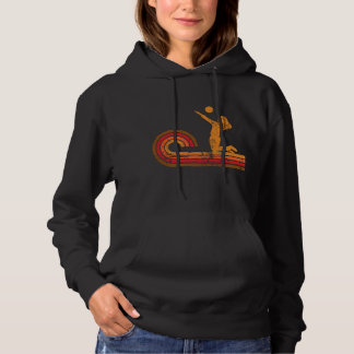 Retro Style Volleyball Player Silhouette Sports Hoodie