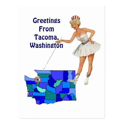 Retro Style Washington state Map Postcard Swapping