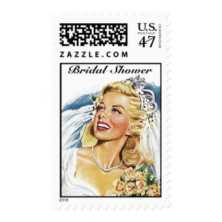 Retro Style Wedding Bride Bridal shower Stamps