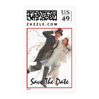 Retro Style Wedding Couple Save The Date Stamps