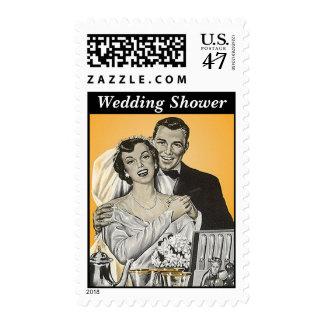 Retro Style Wedding Couple Shower invite Stamps