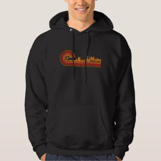 Retro Style White Plains New York Skyline Distress Hoodie
