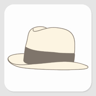 retro styled fedora hipster hat square sticker