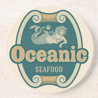 Retro-styled mermaid seafood label coasters