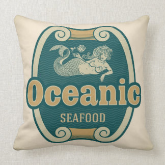 Retro-styled mermaid seafood label throw pillows