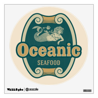 Retro-styled mermaid seafood label wall decal