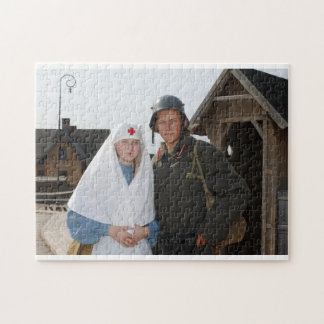 Retro styled picture with nurse and soldier puzzles