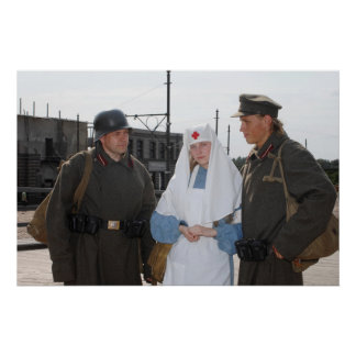 Retro styled picture with nurse and two soldiers poster