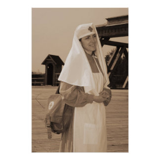 Retro styled picture with nurse print