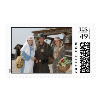 Retro styled picture with two womens and soldier postage stamps