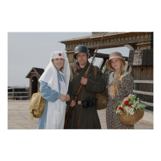 Retro styled picture with two womens and soldier print