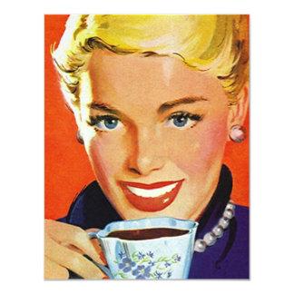 Retro Stylish Lady Coffee or Tea Social Invitation
