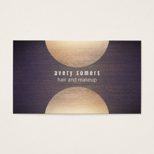 Retro Stylist Gold Circle and Wood Grain Mod Hip Business Card