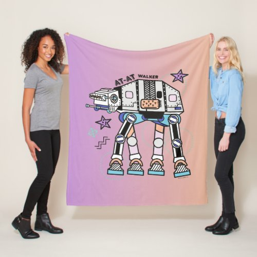 Retro Stylized AT_AT Walker Fleece Blanket