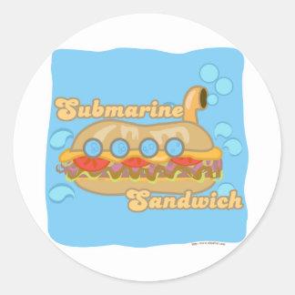 Retro Sub Sandwich Too! Classic Round Sticker