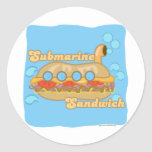 Retro Sub Sandwich Too! Round Stickers