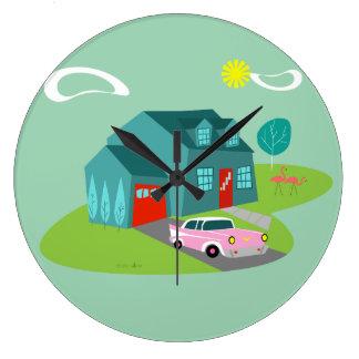 Retro Suburban House Acrylic Wall Clock