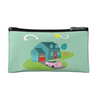 Retro Suburban House Cosmetic Bag