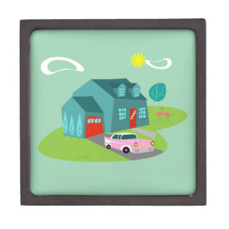 Retro Suburban House Magnetic Wooden Gift Box