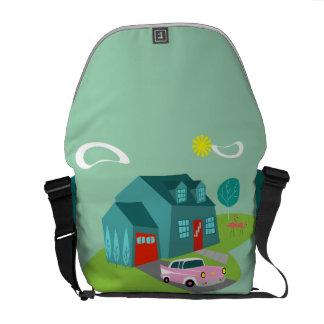 Retro Suburban House Messenger Bag
