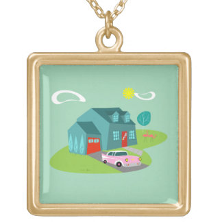 Retro Suburban House Necklace