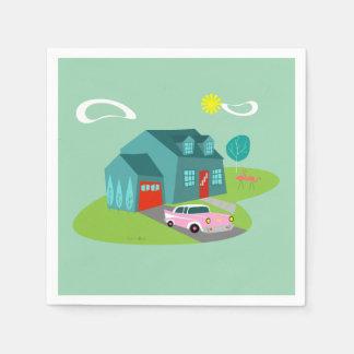 Retro Suburban House Paper Napkins