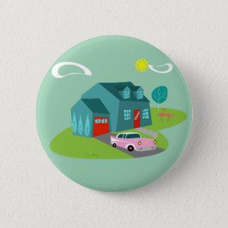 Retro Suburban House Round Button