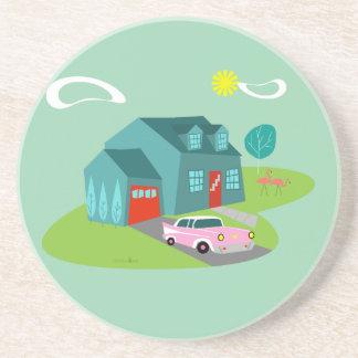 Retro Suburban House Sandstone Coaster