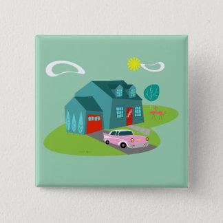 Retro Suburban House Square Button