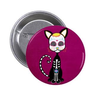 Retro Sugar Skull Cat 2 Inch Round Button