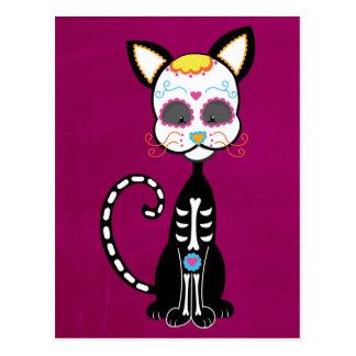 Retro Sugar Skull Cat Postcard