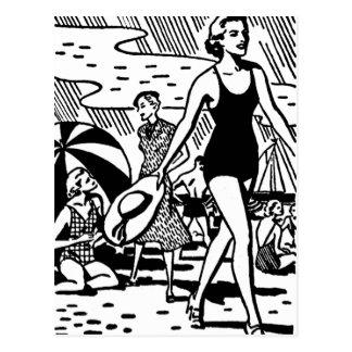 Retro Summer at the Beach Postcard